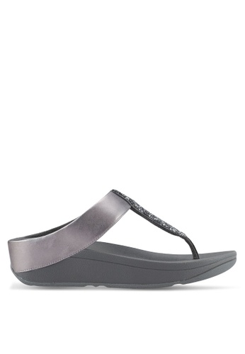 Fitflop grey Sparklie Roxy Toe Post Sandals B5493SHE2C6A25GS_1