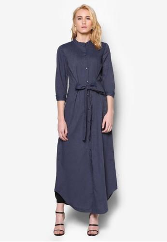 立領素色連身長裙,esprit香港分店 服飾, 女性服飾