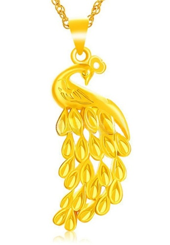 YOUNIQ gold YOUNIQ Premium Peacock 24K Gold Plated Pendant YO999AC0S96LMY_1