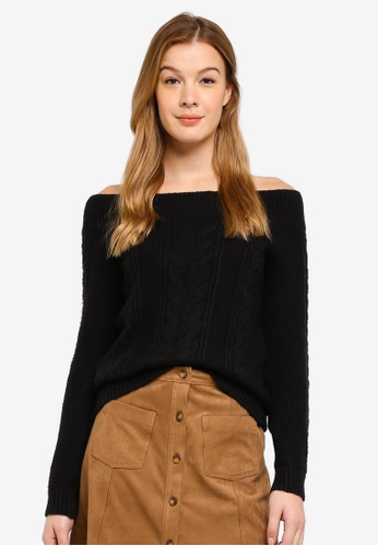 Abercrombie & Fitch black Off The Shoulder Pullover 97FD8AA3124AD1GS_1