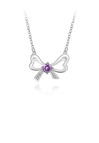 Glamorousky purple Fashion Elegant Hollow Bow Cubic Zirconia Necklace 384B1ACD34D569GS_1