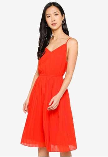 ZALORA BASICS orange Pleated Midi Dress 23DA5AA9165C7FGS_1