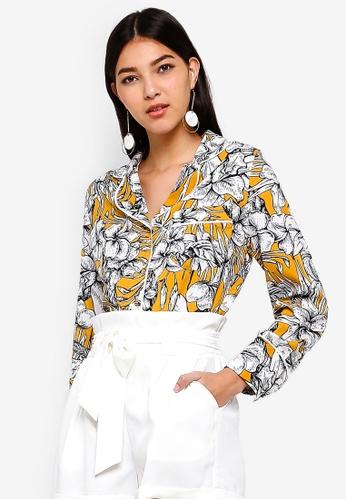 ZALORA yellow and multi Contrast Piping Shirt 84903AA8DE738CGS_1
