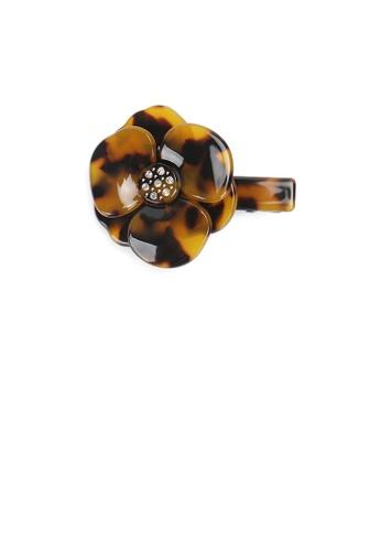 Glamorousky brown Fashion Temperament Tortoiseshell Camellia Hair Slide with Cubic Zirconia 9C214AC9F605E4GS_1