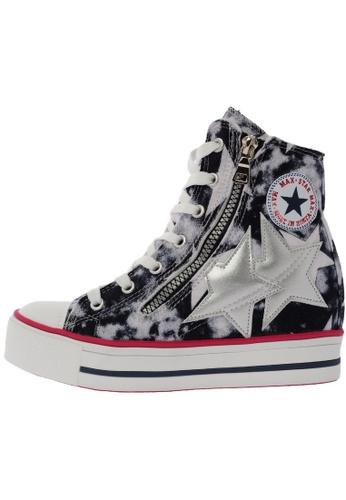 Maxstar C2 30 7 Holes Denim Single Line White Platform High Top Sneakers US Women Size MA168SH68DMDHK_1