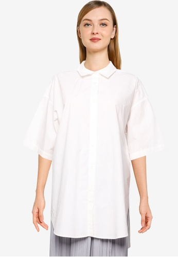 LOWRYS FARM white Half Sleeve Tunic Shirt CEE57AAA281868GS_1