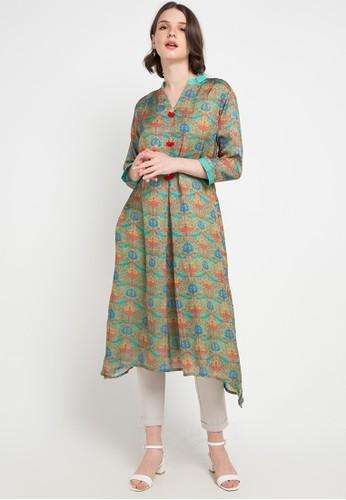 Chanira Festive Collection green and multi Carly Silk Tunic E717AAAD13F935GS_1