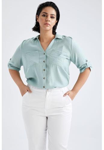 DeFacto green Woman Woven Long Sleeve Shirt FED97AA70180F0GS_1