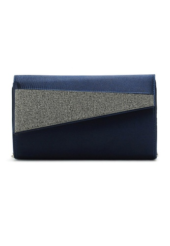 LULUGIFT blue Metal Chain Silk Dinner Clutch Sling Bag LU989AC38EXPMY_1