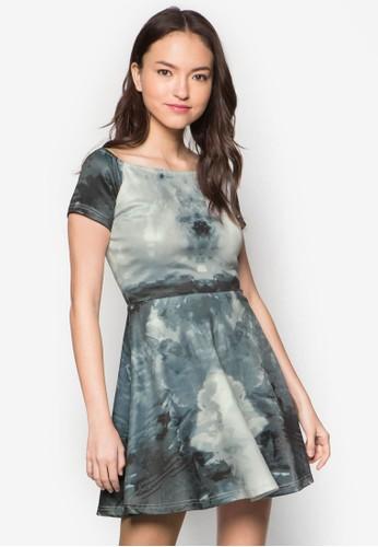 水彩畫露肩連身裙, 服飾zalora 手錶 評價, 服飾