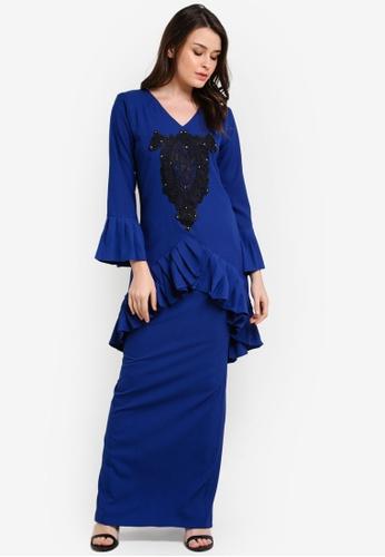 Zuco Fashion blue Pleated Lace Mini Kurung ZU882AA0RIKBMY_1