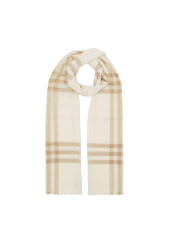 BURBERRY white Burberry Large Zipped Scarf in White/Alabaster 8E338ACB4588B7GS_1