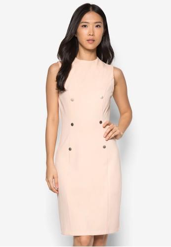 雙排扣高領連身裙, 服飾, 正zalora 包包 ptt式洋裝