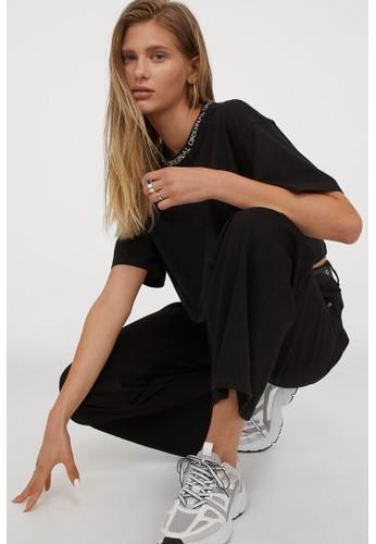 H&M black Boxy jersey top F65E4AA03B3F2EGS_1