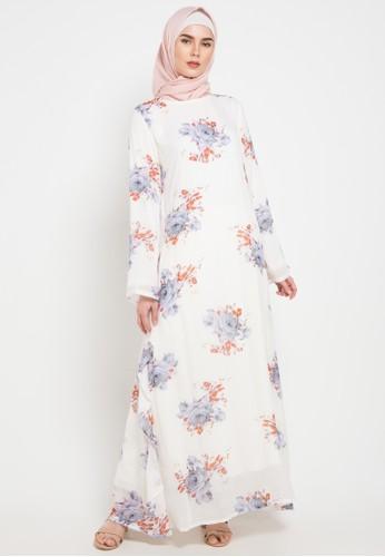Aira Muslim Butik white and grey Arini Dress 8B398AA97E4FD4GS_1