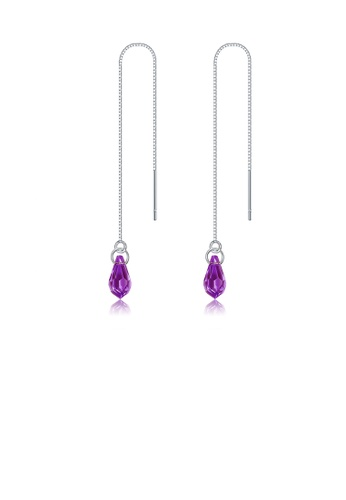 Glamorousky purple 925 Sterling Silver Simple Water Drop Shape Purple Austrian Element Crystal Tassel Earrings B24FEAC4F28B9EGS_1