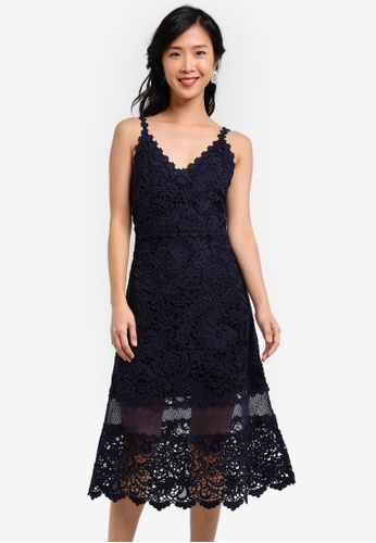 ZALORA navy Crochet Lace Flare Midi Dress 50B2CAA907AED9GS_1