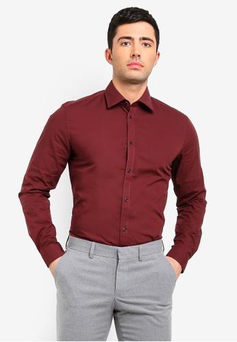 ESPRIT 紅色 長袖襯衫 F2E33AAE51D7A8GS_1