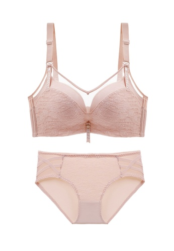 ZITIQUE pink Women's Sensual Charming 3/4 Cup Non-wired Seamless Push Up Lingerie Set (Bra And Underwear) - Pink A0DAEUSF46D39AGS_1