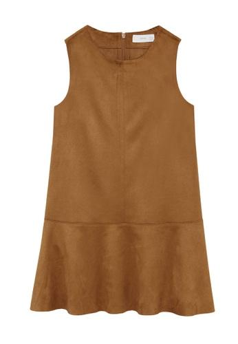 MANGO KIDS brown Fluted Hem Dress 41943KAB4648D1GS_1