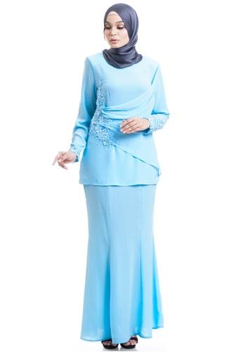 Ashura blue Maera Kurung With Layered Drapes 4CA48AADDA4A1FGS_1