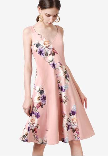 Saturday Club 粉紅色 Contrast 花卉洋裝 4377DAA3B7A423GS_1