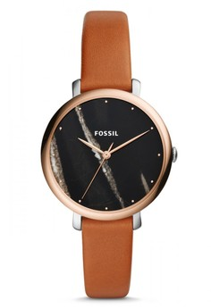 Fossil Jacqueline - Black Round Dial 36mm - Leather - Brown - Jam Tangan Wanita - ES4378