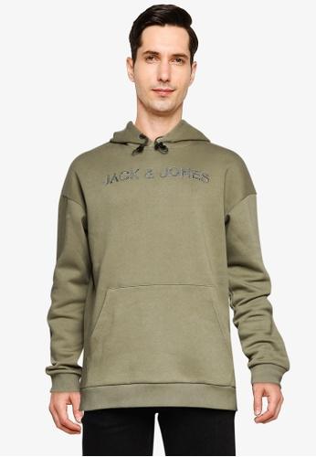 Jack & Jones green Brodi Sweat Hoodie C9EDDAA7D66B8CGS_1