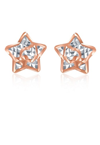 MaBelle silver 14K 585 Rose and White Gold Diamond Cut 3D Star Stud Earrings 0A4C9ACE9F237AGS_1