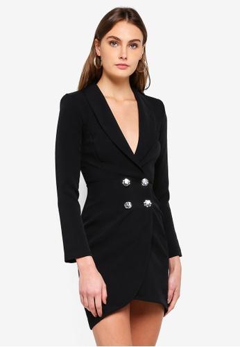River Island black Diamante Embellished Bodycon Tux Dress 40432AA1EC26EEGS_1