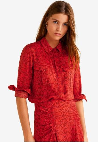 Mango red Snake Print Shirt AC524AA717096FGS_1