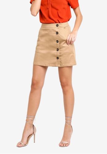 ZALORA brown Button Down Skirt AE3F3AACC70E68GS_1