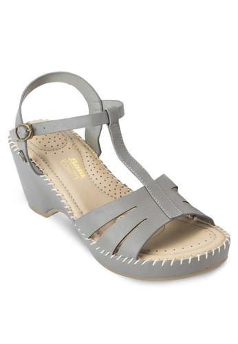 esprit 高雄BAILEY 鏤空T 字帶楔型涼鞋, 女鞋, 中跟