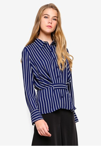 bYSI blue and multi Stripe Button Clench Shirt 35E4BAA856049AGS_1