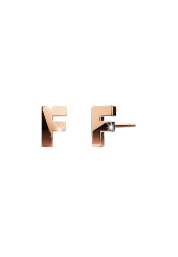 Bullion Gold gold BULLION GOLD Dainty Alphabet Letter Earring Rose Gold Layered Steel Jewellery - F B100CACFD458AAGS_1