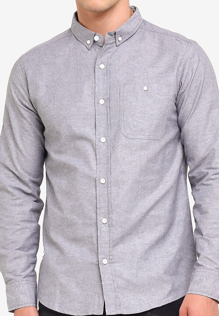 Penshoppe Downed Shirt Pocketed Charcoal Buttoned Oxford w8vW7WqH