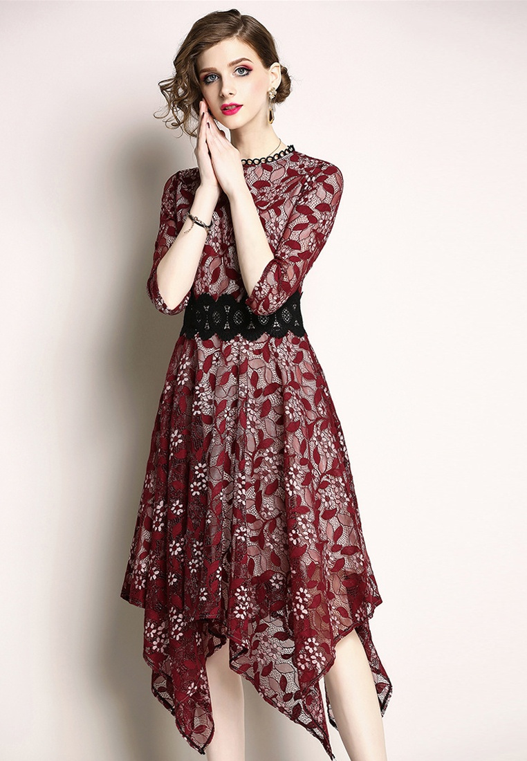 A060814R Patterned Sunnydaysweety New 2018 One Red Flower Piece Dress Red qwFfZp7x0