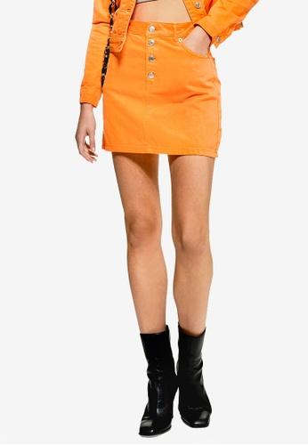 TOPSHOP 橘色 丹寧短裙 A44BDAA8CBFD22GS_1