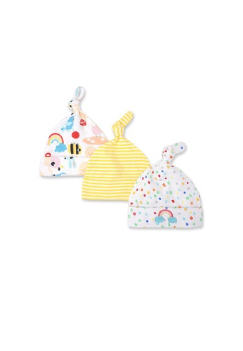 Little Kooma white Baby Girl Hats 3 Piece Pack 0-6 Months - 0719 Rainbow & Dots 1B52DKC833236CGS_1