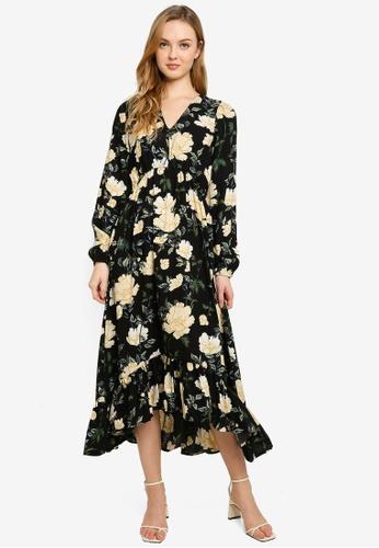 ONLY black Onleve Long Sleeve Mid Calf Dress 9309DAA946AD01GS_1
