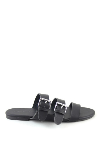 London Rag 黑色 黑色多扣平底托凉鞋 19A83SH8B8813CGS_1