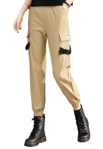 A-IN GIRLS beige Elastic Waist All-Match Trousers 28778AAE09597AGS_1