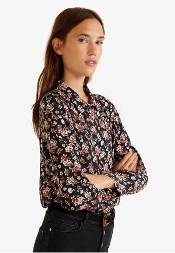 MANGO black Floral Print Shirt 1CC4FAA9D1DA12GS_1