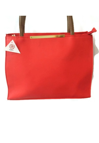 The Papillon Design red Tote Bag With Metal Bar TH964AC60VIDMY_1