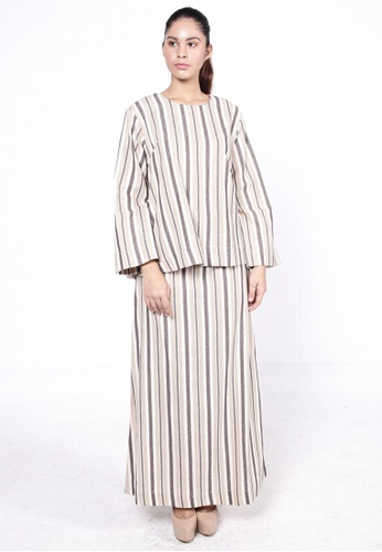 Tira Kurung Brown Stripes from HESHDITY in Brown