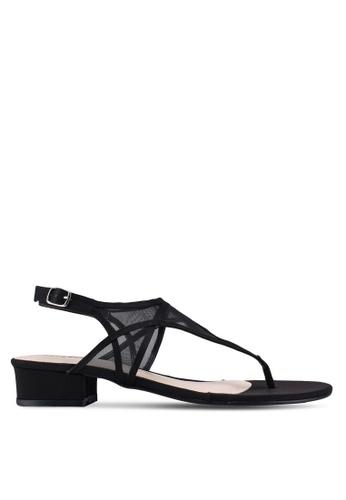 Bata 黑色 透視拼接夾腳涼鞋 3386CSHC1079EFGS_1