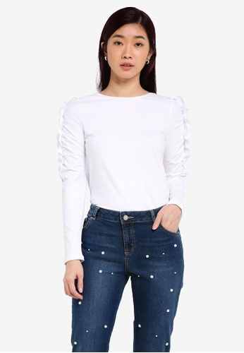Dorothy Perkins white Gathered Frill Sleeve Top DO816AA0RQU8MY_1