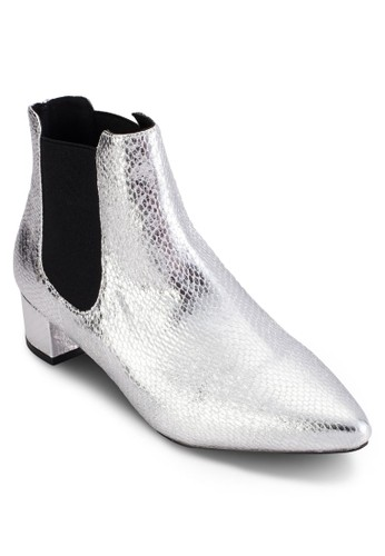 KRAZY 尖頭低跟esprit地址金屬感短靴, 女鞋, 鞋