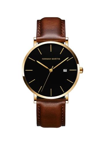 HANNAH MARTIN black Hannah Martin Classic Men Leather Quartz Watch D9B61ACD5CF0FDGS_1