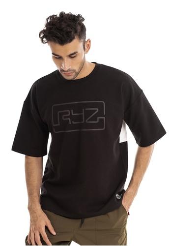 RYZ black RYZ Border Black Short Sleeve Sweat T-Shirt. D2A77AA67B48E2GS_1